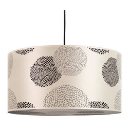 Lights Up! - Meridian Grande Pendant Lamp, Black Mumm on Silk Shade - These mums are banging the drum on modern style. This striking pendant light features a 24-inch diameter drum shade made of silk. It's covered in stylized black mums printed on the sides and bottom to diffuse the light over your table or in your room.