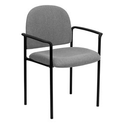 Flash Furniture - Gray Fabric Comfortable Stackable Steel Side Chair - Complete your office or reception area with this stacking side chair by Flash Furniture. The comfortably padded seat and back are provided to make your guests feel at ease while waiting. The steel frame of this chair is strong enough to last for years of use.