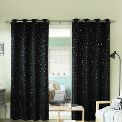 Best Home Fashion - Black & Gold Star Curtain Panel - Set of Two - Dress up a window display in modern style with this vibrant set of easy-to-install curtain panels.   Includes two panels 100% polyester Machine wash Imported