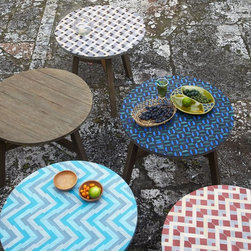 Mosaic Tiled Bistro Table, Aqua Glass - I love all the different patterns of these outdoor tables. They're way too cute to leave outside.