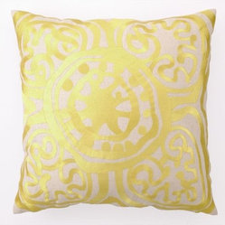 RR - Trina Turk Yellow Rustic Medallion Embroidered Pillow - Yellow Rustic Medallion Embroidered Pillow