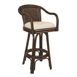 Hospitality Rattan - Hospitality Rattan Key West Rattan & Wicker Antique Swivel Counter Stool - Bring the tropics to your home with the Key West Counter stool. It is a traditional wicker and rattan swivel counter stool that is built with solid rattan pole construction reinforced with a pencil rattan twist. The Key West Collection offers three basic finishes Antique Natural and Whitewash. The counter stools feature commercial grade reinforced rattan bases swivel mechanisms & reinforced double pole footrests. The stool will come with instructions and requires assembly. It comes with a comfortable cushion in the beige fabric as shown. For an upcharge you can choose from your choice of over 35 fabrics in a variety of colors and patterns to match your decor. The Key West counter stool is the perfect addition to your bar. Since 2000 Hospitality Rattan has been designing and distributing contract quality rattan wicker and bamboo furnishings. A variety of indoor and outdoor collections derived from the best possible materials is available for the furniture buyer who wants that tropical feel. Features include Includes cushion with fabric as shown Swivel Mechanism Included Constructed of commercial quality rattan poles Requires Some Assembly (Instructions Included). Specifications Finish: Antique Material Type: Rattan Poles & Woven Wicker.