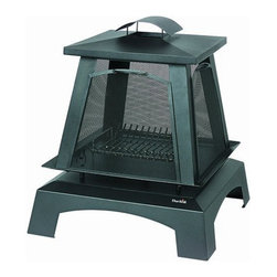 Char-Broil - Trentino Fireplace Steel Porcelain - Outdoor fireplace made from durable steel with protective porcelain finish 4 mesh side screens contain sparks and provide view of fire from every angle. Removable screens allow for stoking fire or roasting marshmallows. Elevated fire platform built in log rack some assembly required 1 year limited warranty.