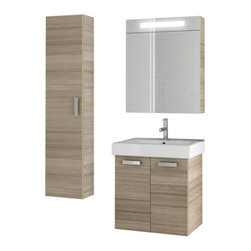 ACF - 23 Inch Larch Canapa Bathroom Vanity Set - Give your bathroom a makeover with this Italian made bathroom vanity set! The set comes complete with a two door vanity cabinet, bathroom sink, lighted medicine cabinet, and tall storage cabinet.