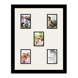 ArtToFrames - ArtToFrames Collage Photo Frame  with 5 - 3.5x5 Openings - This classic Satin Black, 1.25 inch wide collage frame, comes equipped with a setup for 5 - 3.5x5 pictures of your choice. This collage is part of an array collage frame group and boasts a sweeping line of carefully constructed frames at a affordable price tag you can be happy about! Handcrafted and developed to outfit your pictures making sure you 5 - 3.5x5 art will fit perfectly. Bordered in an eye-catching Satin Black, high-end frame and accompanied by a sophisticated Super White mat, the collage arrangement certainly showcases your original prized artwork, and your most favorite memories in an entirely incredible and vivid way. This collage frame comes protected in Styrene, handy with proper hardware and can be hung up within a few seconds. These premium quality and naturally wood-based collage frames change in design and size specifics; all in contemporary and modern design. Mats are available in a multitude of color tones, openings, and shapes. It's time to tell your story! Preserving your holding onto your memories in an original and imaginative brand-new way has never been easier.