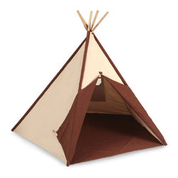 "Pacific Play Tents - Authentic Tee Pee - Let your little ones imagination run wild with our new ""Authentic Tee Pee"" playhouse.Features: -Material: Durable 100% cotton canvas. -Enormous almost 5 foot tall by almost 4 foot square. -Easy to set-up teepee can be used indoors. -Bright walls feature interesting designs and there is an easy access opening as well as a mesh window for ventilation purposes. -Tie back dual front doors and mesh window add to the hours of fun your little Cowboys. -Comes in its very own carry bag for easy storage. Dimensions: -56"" H x 45"" W x 45"" D, 12 lbs."