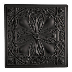 "Avalon Ceiling Tile - Black - Perfect for both commercial and residential applications, these tiles are made from thick .03"" vinyl plastic. Their lightweight yet durable construction make these tiles easy to install. Waterproof, these tiles are washable and won't stain due to humidity or mildew. A perfect choice for anyone wanting to add that designer touch at an amazing price."