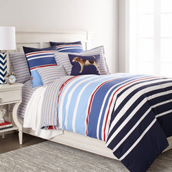 "Horchow - ""Caravelle"" Bed Linens - Caravelle bed linens feature a mixture of stripes in red, white, and shades of blue ranging from sky to navy. Striped linens are bamboo/cotton blend; machine wash. Indigo tapestry dog pillow is all cotton; dry clean. All are made in France."