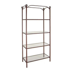 Grace Collection - Display Etagere w 4 Shelves (Aged Iron) - Finish: Aged Iron0.25 in. thick tempered safety glass shelves. Provides an eye-catching display space for variety of items. Top shelf with 17.5 in. height to top crossing bar. Made from wrought iron. Spacing between shelf: 17 in.. Shelf: 36.5 in. W x 16.5 in. D. Overall: 38.5 in. W x 16.5 in. D x 79 in. H (120 lbs.)