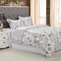 None - Cotton 300 Thread Count Blossom Duvet Cover Set - Bring a delicate,feminine touch to your bedroom decor with the Blossom Duvet Cover set. Displaying an intricate floral pattern in grey and white tones,this set is made of 100 perfect cotton.