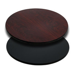 """Flash Furniture - 24'' Round Table Top with Black or Mahogany Reversible Laminate Top - Complete your restaurant, break room or cafeteria with this reversible table top. The reversible laminate top features two different laminate finishes. This table top is designed for commercial use so you will be assured it will withstand the daily rigors in the hospitality industry.; Reversible Restaurant Table; 1.125"""" Thick Round Table Top; Bi-Color Laminate Top; Black On One Side, Mahogany on the Other; High Impact Melamine Core; Black T-Mold Protective Edging; Designed for Commercial Use; Available Sizes: 24"""", 30"""", and 36""""; Assembly Required: Yes; Country of Origin: China; Warranty: 2 Years; Weight: 40 lbs."""