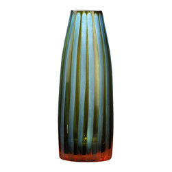 Kathy Kuo Home - Small Cyan Blue and Orange Striped Chiseled Glass Vase - The art of chiseled glass is brought to life in vivid shades of cyan, orange and sea-glass green.  Vertical chiseled stripes create the color variance, while the spare silhouette creates a shapely stage for this color play to come to life.  All contemporary spaces - especially mid century modern ones - will find this an artful and welcome addition.