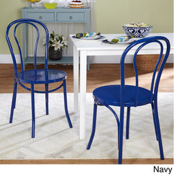 Simple Living - Simple Living Vintage Inspired Cafe Chairs (Set of 2) - Recreate the look of a Paris sidewalk bistro in your own kitchen or dining room with these stylish metal cafe chairs. Inspired by vintage designs,these elegantly curved chairs come in five fun colors to complement any decor.