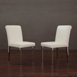 None - Cosmopolitan Stainless Steel Modern White Leather Dining Chairs (Set of 2) - The Cosmopolitan Dining Chair set is ideal for your home dining or other seating needs. Luxurious white leather featuring a natural texture covers these chairs, bringing comfort and class to any setting.