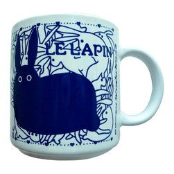 Taylor and Ng - French Le Lapin (Rabbit) Mug - Le Lapin (Rabbit) in a Blue design on a White 11 oz Ceramic mug. Dishwasher, microwave safe. Vintage French Mugs collection. Stackable for easy storage. 3.25 in. L x 3.25 in. W x 3.5 in. H