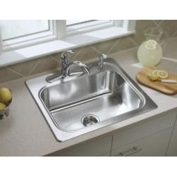 """Sterling - Sterling 11405-3-NA Stainless Steel Southhaven Single Basin Stainless - Overall size: 25"""" x 22""""  8"""" Basin depth  3 5/8"""" Drain opening  3-hole faucet punching  SilentShield(TM), an exclusive sound-deadening system, reduces noise and vibration  Rolled outer rim for safe handling and increased rim durability"""