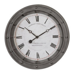 Steve Kowalski - Steve Kowalski Porthole Wall Clock X-29060 - Rust Gray Metal Frame With Burnished Edges. Quartz Movement.
