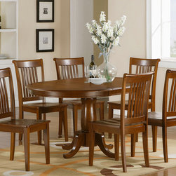 "East West Furniture - Portland 7Pc Set with Pedestal Oval Dining Table and 6 Wood Seat Chairs - Portland 7Pc Set with Single Pedestal Oval Dining Table Featured 18"" Extension Leaf and 6 Wood Seat Chairs; Solid wood dining set finished in a warm saddle brown to compliment almost any decor; Oval tabletop can seat up to six with 18"" butterfly leaf, which conveniently folds under the table when not in use; Columnar pedestal with subtle accents add a touch of classic flair; Chairs are available upholstered in contrasting light fabric; Chair backs have vertical slats with scrolled tops, completing the stylish looks; Weight: 204 lbs; Dimensions: Table: 42-60""L x 42""W x 30""H; Chair: 18""L x 17""W x 38.5""H"