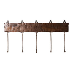 Rustica Hardware - Ironwood Shelf and Hooks - Impress yourself and others with this perfect combination of wood and iron. The shelf itself comes with a distressed texture, coated over with a glaze and clear finish. Each 1 of 5 hooks is placed at a slightly different length, giving it a staggered, one of a kind look. The Ironwood Shelf & Hooks will set you apart as a true appreciator or american made, functional works of art.