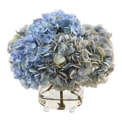Hydrangea Arrangement in Footed Glass Vase