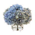 Winward Designs - Hydrangea Arrangement in Glass Vase - What could be more charming than lush, blue pompom blooms seeming to burst from a small-footed vase. It's a look you'll love — forever! No one will doubt you didn't cut them from your garden this morning.