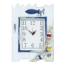 Benzara - Wooden Clock with Sturdy Rectangular and Fish and Net Detailing - Give your child's bedroom a dash of playful style with this eye catching Wooden Clock. The clock features a design originating in China and sports a rectangular frame. Available in white, it has a versatile style that is ideal for complementing different decors with absolute ease. Adorned with a fish and net, this attractive clock sports a sea theme which makes it a suitable choice for children who are fond of sailing and boats. The clock has a rectangular face that features simple numbers, making time easy to read. Crafted from wood of top quality, this clock is durable and long-lasting. A perfect choice of gift for just about anyone, this clock adds a minimalist, yet stylish touch to interior decor which ensuring practical use as well. It comes with a dimension of 14 in.  H x 10 in.  W x 2 in.  D.
