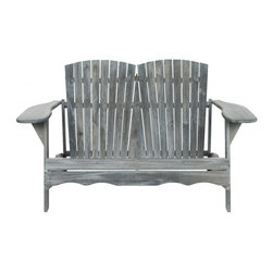 Safavieh - Hantom Bench - Nothing is more romantic than an Adirondack loveseat for watching sunsets, sipping cocktails or just enjoying conversation. Adapted from the original 1903 piece designed by Thomas Lee while he was vacationing in the Adirondack Mountains, the Hantom Bench has wide arms and comfy slant back that beckons. Crafted of sustainable acacia wood in ash grey finish with silver galvanized hardware, Hantom is destined to become a backyard favorite.