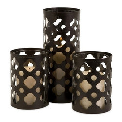"IMAX - Norte Cutwork Candle Holders - Set of 3 - Traditional iron cutwork, set of three, candle holders.  Single tall holder with a pair of shorter holders   Holds pilar candles. Item Dimensions: (6.25-10.75""h x 4.5""d)"