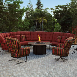The Monterra Collection - The Monterra collection features unique details such as hammered rivets at key intersections and embossed flat bars that envelope the cushioning of the chair, creating beautiful and distinctly comfortable deep seating. Made in the USA, by OW Lee.