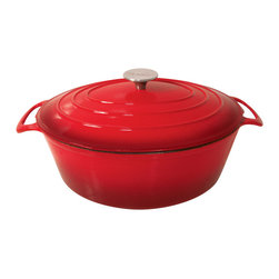 Orly - Le Cuistot Vieille France Enameled 2 Tone Red Cast-Iron Oval Dutch Oven - This oval dutch oven by Le Cuistot features an elegant design, heavy duty handles and an oven-proof stainless steel knob for convenient and safe handling. The enameled cast iron construction distributes heat evenly around the pot, eliminating hot spots.