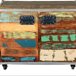 Sierra Living Concepts - Retro Industrial Reclaimed Wood Rolling Rolling Storage Cabinet - If you live an active life choose furniture that will keep up with you like our Retro Industrial Reclaimed Wood Rolling Rolling Storage Cabinet. This colorful and casual solid hardwood cabinet is built with reclaimed wood from Gujarat.