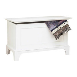"""Renovators Supply - Benches White Pine Shaker Blanket Chest & Bench - Chests: Our Shaker Blanket Chests are crafted of solid pine & are equipped with an anti-slam lid to protect your fingers.  Measures 24-1/2"""" high x 40-1/4"""" wide x 18-3/4"""" deep. Finished in our Pearl White stain."""