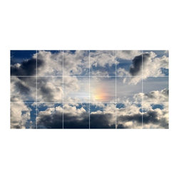 Picture-Tiles, LLC - Sky Clouds Picture Bathroom Shower Tile Mural  18 x 36 - * Sky Clouds Picture Bathroom Shower Tile Mural 1436