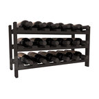 18 Bottle Stackable Wine Rack in Pine with Black Stain - Expansion to the next level! Stack these 18 bottle kits as high as the ceiling or place a single one on a counter top. Designed with emphasis on function and flexibility, these DIY wine racks are perfect for young collections and expert connoisseurs.