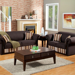 Modern Brown Fabric Sofa Couch Loveseat Pillows Living Room Set Stripe - A little splash of flair brings the best out of this understated sofa and love seat combination. With its dark gray fabric and rolled arms with wood trim, this set may look like any other sofa. But add colorful stripe accents in warm and earth-tone colors, and it turns into something you can definitely see in your own living room.