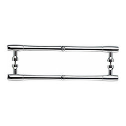 "Top Knobs - Nouveau Bamboo Back to Back Door Pull - Polished Chrome - Length - 13 15/16"", Width - 7/8"", Projection - 2 1/8"", Center to Center - 12"", Base Diameter - 13/16"""