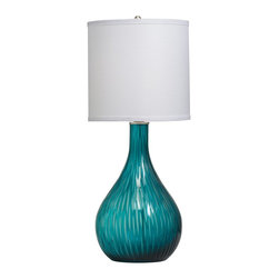 Kichler Lighting - Kichler Lighting 70888 Dharma Transitional Table Lamp - This unique 1 light Dharma™ portable table lamp will effortlessly elevate any space in your home. Featuring beautiful etched aqua colored glass and a hard back fabric shade, this design creates a timeless, refined profile.