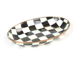 Courtly Check Enamel Oval Dish | MacKenzie-Childs - Hand-painted enameled steel. Made to fit perfectly in our Acacia wood cheese & cracker board.