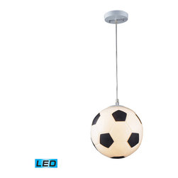 Elk Lighting - Novelty LED 1-Light Soccer Ball Pendant in Silver - Fun for all ages! These whimsical lighting fixtures will put a smile on you or your child�s face with a myriad of shapes and themes meant to stir the imagination and create a lighthearted environment. - LED offering up to 800 lumens (60 watt equivalent) with full range dimming. Includes an easily replaceable LED bulb (120V).