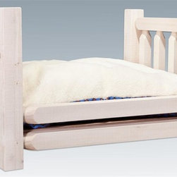 Montana Woodworks - Rustic Pet Bed - Includes fleece lined mattress. Hand crafted. Sawn square timbers and trim pieces for rustic timber frame design. Heirloom quality. Solid lodge pole pine. Mattress has warm fleece on one side and cool fabric on the other. Made from U.S. solid grown wood. Lacquered finish. Made in U.S.A.. Assembly required. Mattress: 30 in. L x 36 in. W. Overall: 44 in. L x 34 in. W x 23 in. H (77 lbs.). Warranty. Use and Care InstructionsFrom Montana Woodworks, the largest manufacturer of handcrafted quality log furnishings in America comes the all new Homestead Collection line of furniture products. Imagine your pet snuggling into the furry warmth of this unique pet bed. Each piece signed by the artisan who makes it.