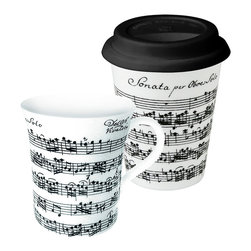 Konitz - Set of 2 Mugs Vivaldi Libretto White To Stay/To Go - Start every day on a high note with this Vivaldi Libretto Mug set. Contrasting black-and-white sheet music from a Vivaldi score graces each beautiful mug, making this set a must-have for the classical music lover on your list.