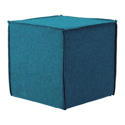 Blu Dot - Blu Dot Otto Ottoman, Aqua - Don't you need an ottoman empire? Start yours with a pair of these. Otto could not be more simple or more versatile. Heck, you can even use it as a side table, footrest, or overflow seating.Padded wood frame, Aqua: 60% Wool / 40% Rayon blend upholstery, French seams, Coal: 50% Cotton / 50% Polyester blend upholstery , Graphite, Pebble, Persimmon: 100% Polyester upholstery