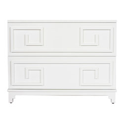 Kathy Kuo Home - Lucio Hollywood Regency Greek White Lacquer Mirror Dresser - Two large drawers glide open for storage space to spare. Naturally beautiful white lacquer covers the frame and a beveled mirror is inset as a tabletop. The Greek key symbol is repeated on the front of the drawers, forming a geometric pattern.  A classic small dresser, this piece also works as a large nightstand or end table.