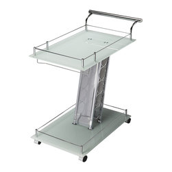 """Butler Specialty - Butler Aston White Glass Serving Cart - Butler Aston White Glass Serving Cart Chrome plated tube: 25mm round shape + 16/16 square shape; 5mm black colored tempered glass 26""""W x 16""""D x 29""""H"""