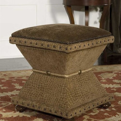 Uttermost - Lanessa Ottoman in Brown - 18 in. L x 18 in. W x 20.5 in. H. Assembly InstructionsTailored, handwork flaunting rows of brass nails, button accents and silken rope trim. Plush covering is satiny taupe reptile chenille with Antiqued velvet cushioned top. Rich, walnut-stained, hardwood feet.