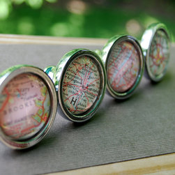 Personalized Vintage Map Drawer Pull by Daisy Mae Designs - These vintage map knobs can be personalized. Have a favorite city? These are a great way to commemorate it.