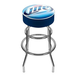 Trademark Global - Bar Stool w Padded Seat & Miller Lite Logo - Adjustable levelers. Long lasting Miller Lite Logo. Great for gifts and recreation decor. 7.50 in. High padded seat. 30 in. High bar stool great for bar pub table and bars. Commercial grade vinyl seat. Chrome plated double rung base. 14.75 in. W x 14.75 in. D x 30 in. H (17 lbs.)This Miller Lite Bar Stool will be the highlight of your bar and game room.