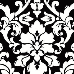 Damask in Black and White - BW28722 - Collection:Norwall Black & White 2