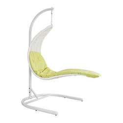 Modway - Enclave Lounge Chair in White - Uncharted horizons give way to natural order with this situated work of perfected alignment. Soar off with Enclave's patented heavy-duty stand and welcoming rattan seat as you balance both time and space in the fine continuum called life.