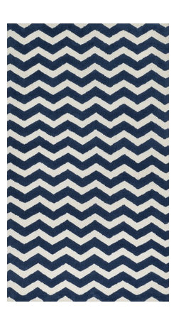 "Loloi Rugs - Loloi Rugs Zoey Collection - Navy, 3'-0"" x 5'-0"" - Zoey is a delightful collection of lighthearted, cheerful patterns in pinks, blues and greens that are perfect for young kids or the young at heart. Power loomed in China of super soft polyester microfiber, Zoey rugs are durable, yet soft enough for infants and toddlers to cozy up to.�"